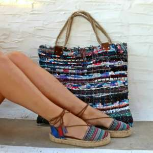 Shopper in cuoio e Kilim, Italian for Italy
