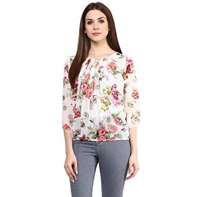 blusa bianca con i fiori in Georgette