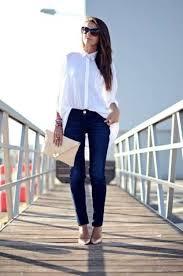 Pantaloni Total denim e blusa bianca