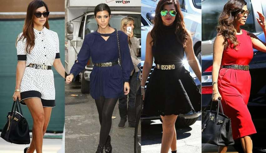 kourtney Kardashian outfits cintura moschino