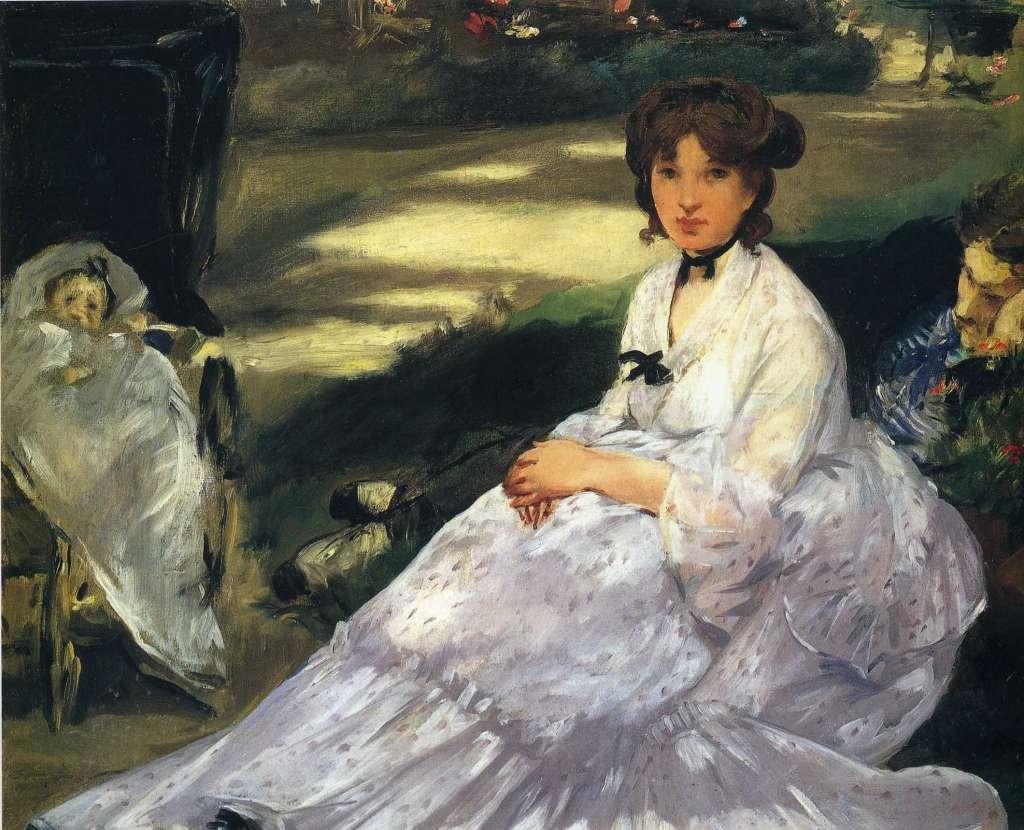 Quadro Donna con abito vittoriano di Manet