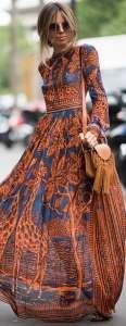 maxi-dress con le maniche lunghe blu e arancio