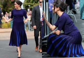 Meghan Markle incinta gonna blu pieghe Givenchy