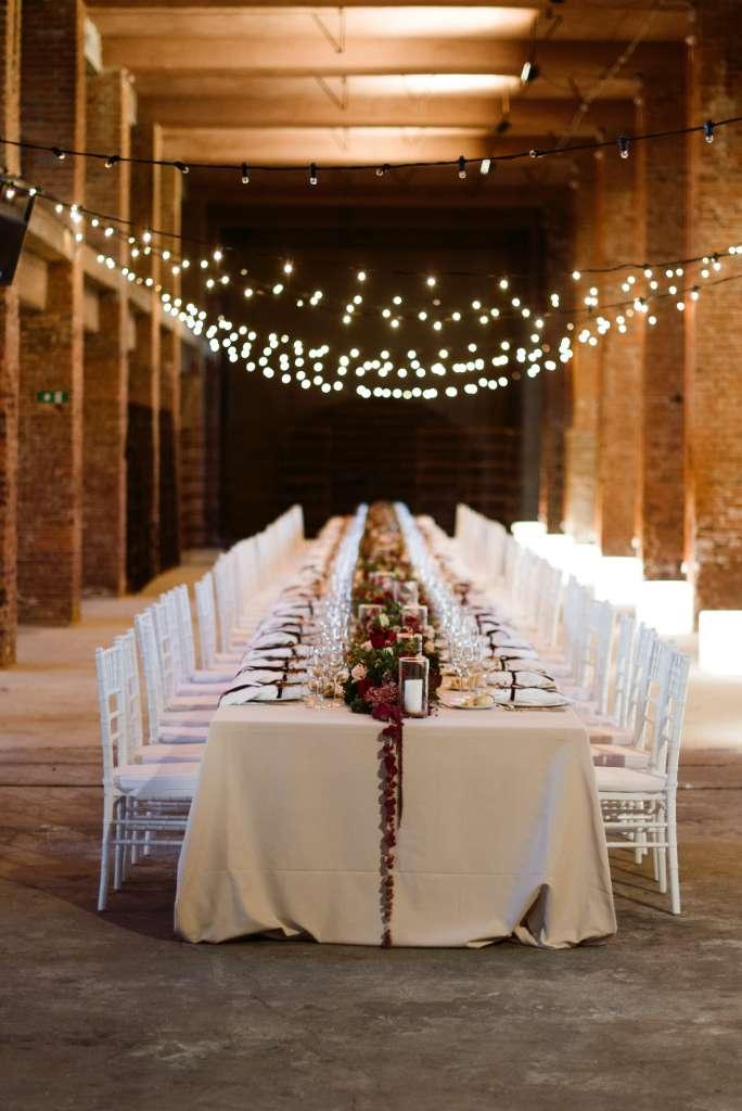 matrimonio industriale allestimento tavolo imperiale