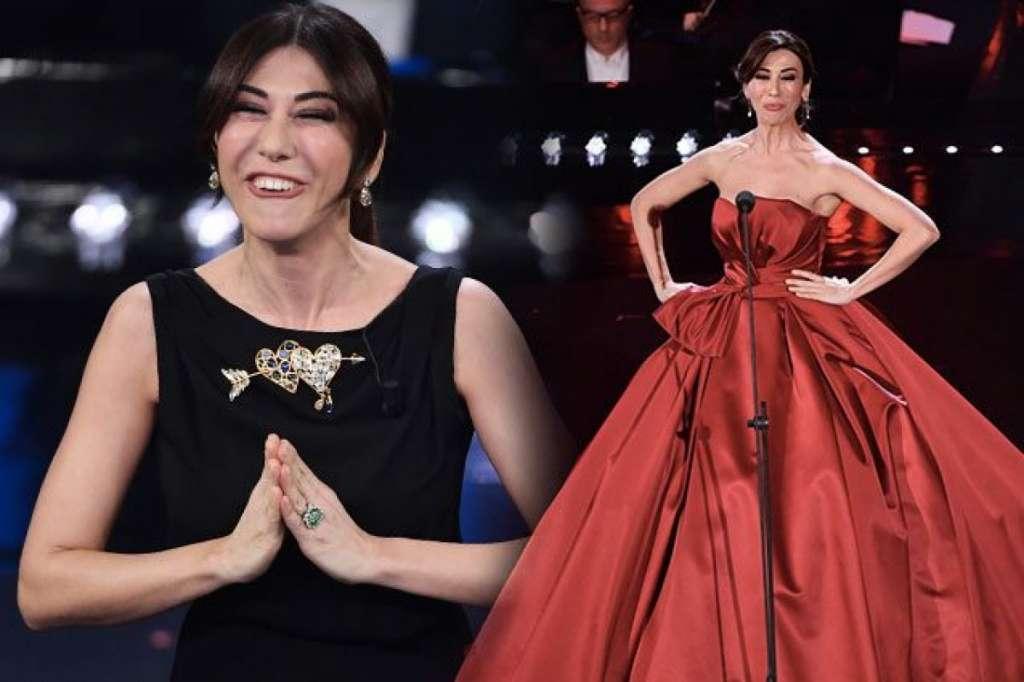 virginia raffaele look vestiti abiti seconda serata sanremo 2019 schiaparelli vestito rosso atelier eme 1200x799