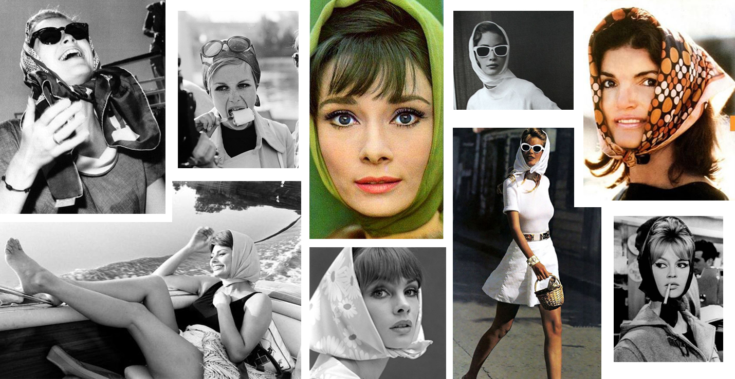foulard headscarf grace kelly audrey heoburn twiggy sofia loren jackie o brigitte bardot 60s